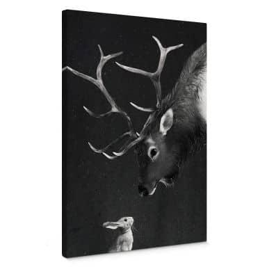 Tableau en toile Graves - Cerf et lapin