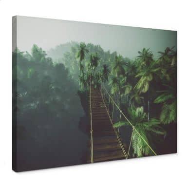 Leinwandbild - Hängebrücke im Dschungel