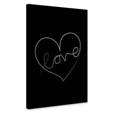 Canvas Print Hariri - Love Lines - Black/White