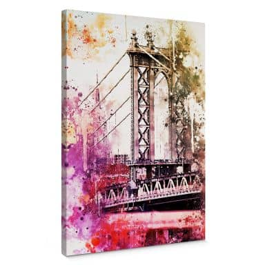 Leinwandbild Hugonnard - Watercolour: New York Bridge