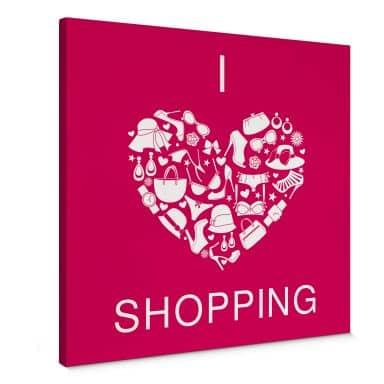 Leinwandbild I love Shopping - quadratisch