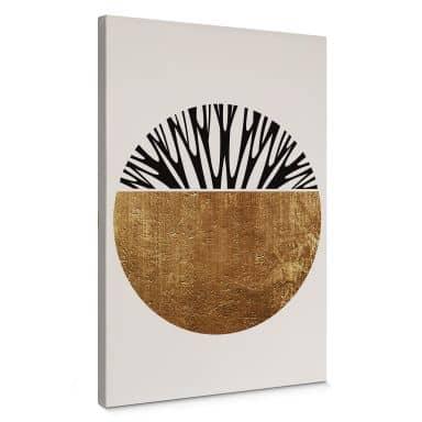 Leinwandbild Kubistika - Baum des Lebens - Gold