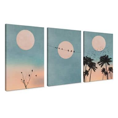 Canvas Print Set of 3 - Kubistika - Moon