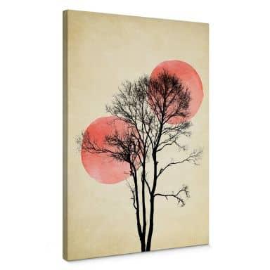 Leinwandbild Kubistika - Sonne und Mond hinter dem Baum