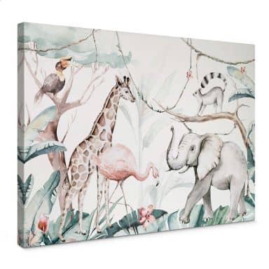 Canvas Kvilis - Dierenvrienden in de Jungle