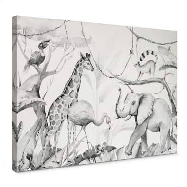 Canvas Kvilis - Dierenvrienden in de Jungle zwart-wit