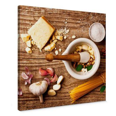 Leinwandbild Laercio - Pesto Rezept - quadratisch