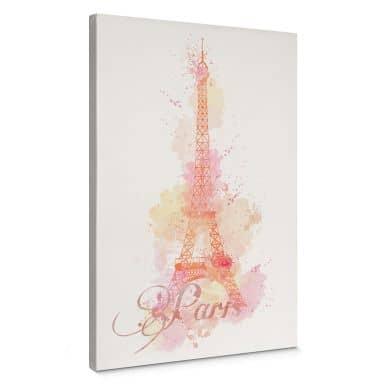 Leinwandbild La Tour Eiffel Aquarell