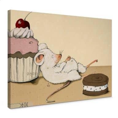 Leinwand Loske - Maus mit Muffin