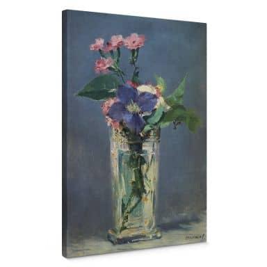 Leinwandbild Manet - Glasvase mit Nelken und Klematis