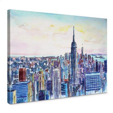 Leinwandbild Bleichner - Manhattan Skyline - Aquar
