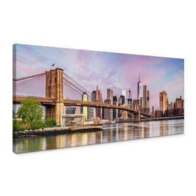 Leinwandbild Colombo - Manhattan Skyline und die Brooklyn Bridge - Panorama
