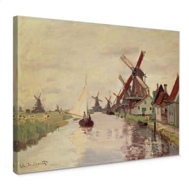 Leinwandbild Monet - Holländische Landschaft mitWindmühlen