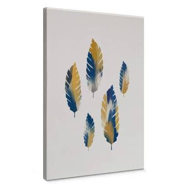 Canvas Orara Studio - Leaves Blue and Yellow