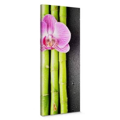 Leinwandbild Orchid and Bamboo - Panorama (vertikal)