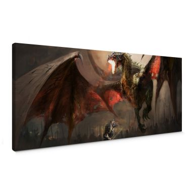 Dragon Fight Canvas print panorama