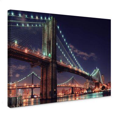 Manhattan Bridge at Night 2 Canvas print