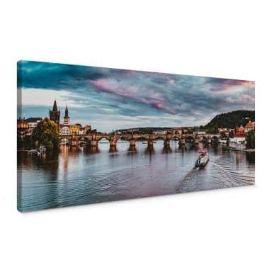 Leinwandbild Sonnenuntergang in Prag