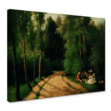 Canvas Camille Pissarro - Picknick in Montmorency