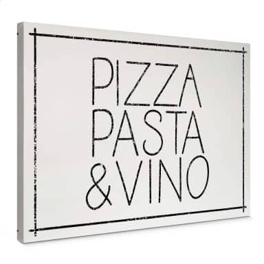 Leinwandbild Pizza Pasta & Vino weiß