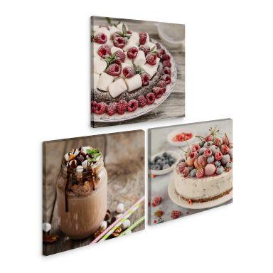 Leinwandbild Dessertvariation (3-teilig)