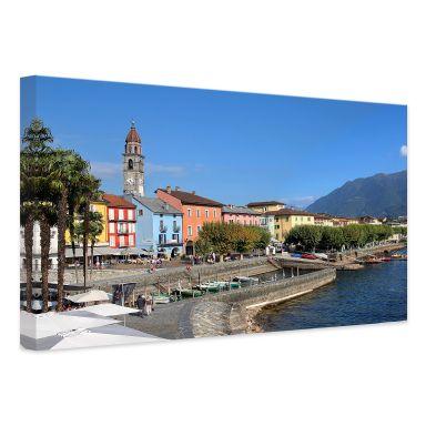 Leinwandbild Hafenpromenade am Lago Maggiore