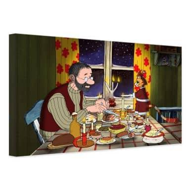Leinwandbild Pettersson und Findus - Abendmahl bei Kerzenlicht