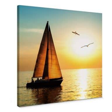 Leinwandbild Segelboot im Sonnenuntergang - quadratisch