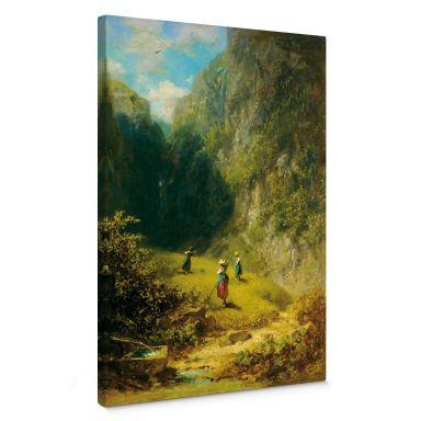 Tableau sur toile Spitzweg - Récolte du foin en haute montagne