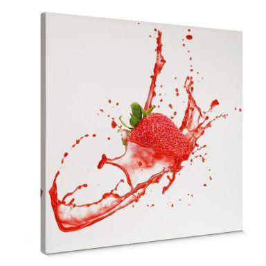 Leinwandbild Splashing Strawberry