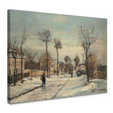 Canvas Camille Pissarro Straat van Louveciennes in de Sneeuw