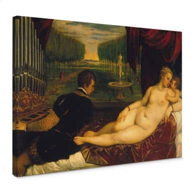 Venus and Organist and Little Dog Canvas print