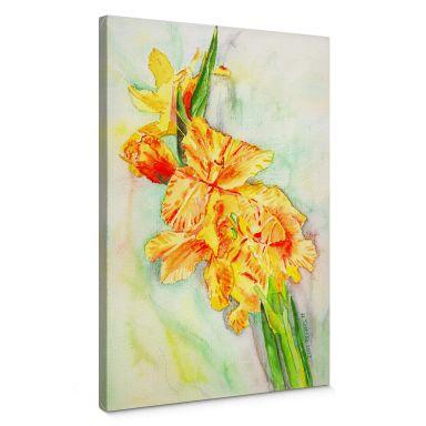 Leinwandbild Toetzke - Gladiolen Bouquet in Gelb