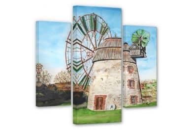 Leinwandbild Toetzke - Holländerwindmühle (3-teilig)