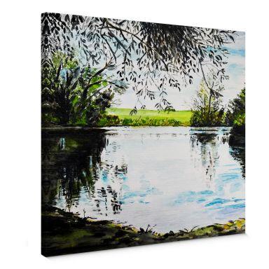Leinwandbild Toetzke - Teich im Grünen