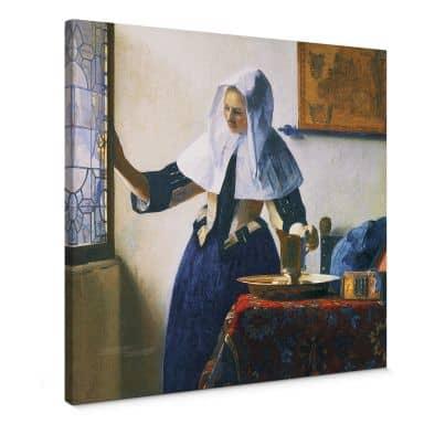 Tableau sur toile Vermeer - Jeune femme avec une cruche - carré