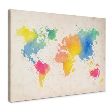 Canvas Wereldkaart - Aquarel II