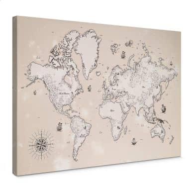 Leinwandbild Weltkarte - Aus vergangenen Zeiten