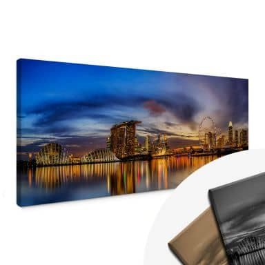 Xie - Lights in Singapore Canvas print panorama