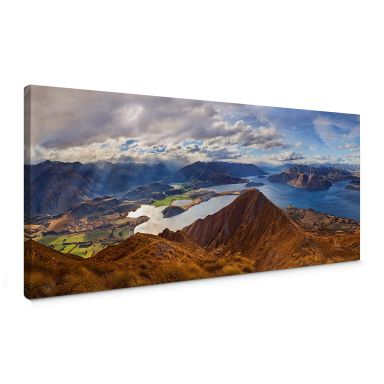 Leinwandbild Yan - Aussicht vom Roys Peak - Panorama