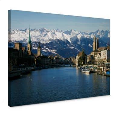 Leinwandbild Zürichsee mit Alpen