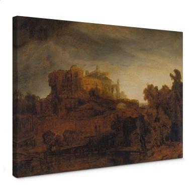 Leinwandbild Rembrandt - Landschaft mit Schloss
