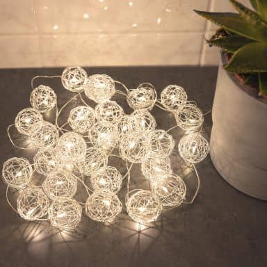 LED Lichterkette Drahtkugeln Silber 20-teilig