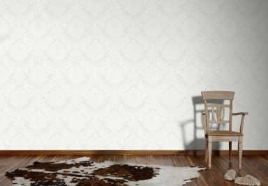 Livingwalls Wallpaper Flock 4 In white, Signal white