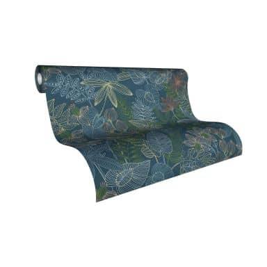 Livingwalls papier peint Colibri Papier peint jungle - Papier peint palmier Bleu, Vert