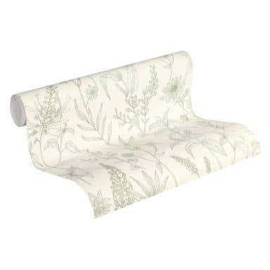 Jette Joop Vliestapete Blumentapete floral grün, metallic, weiß