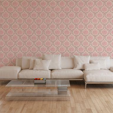 Livingwalls Vliestapete Paradise Garden Tapete mit Ornamenten barock rosa, beige