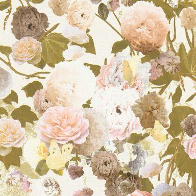 Livingwalls Vliestapete Paradise Garden Tapete mit Rosen floral creme, grün, gelb