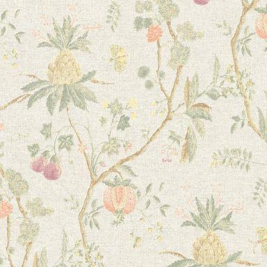 Livingwalls Vliestapete Paradise Garden Blumentapete floral beige, gelb, grün