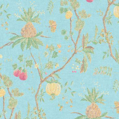 Livingwalls Vliestapete Paradise Garden Blumentapete floral blau, gelb, grün